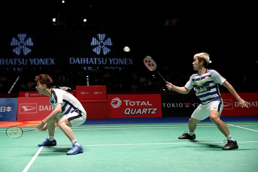 Ganda Putra Indonesia Kevin/Marcus ke final Japan Open 2018 (Foto: Humas PBSI)