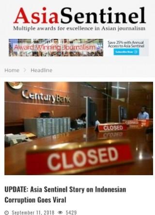 Sempat Hilang, Artikel Asia Sentinel Muncul Lagi