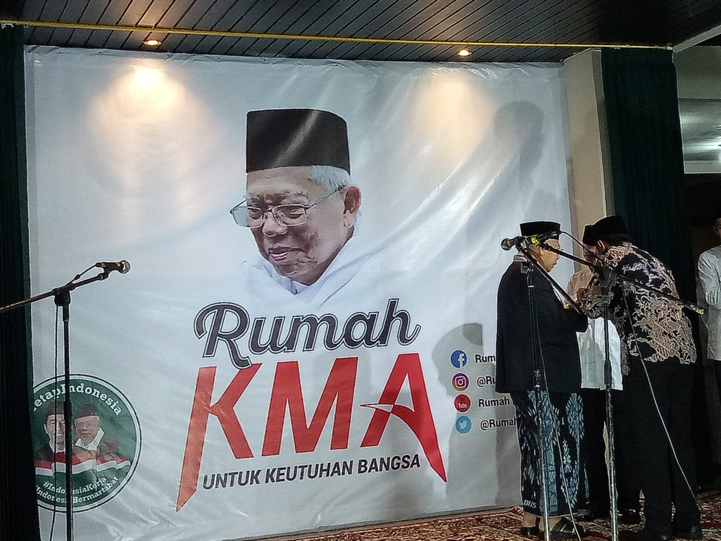 Calon wakil presiden Ma'ruf Amin saat meresmikan Rumah KMA. Foto: Medcom.id/Siti Yona Hukmana.