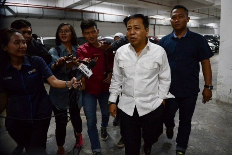Tedakwa kasus dugaan korupsi proyek KTP Elektronik Setya Novanto di Gedung Pengadilan Tipikor Jakarta. Foto: MI/Susanto.