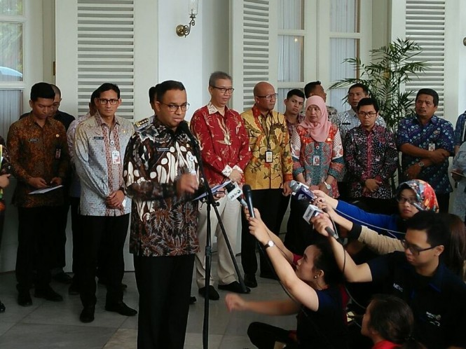 Gubernur DKI Anies Baswedan meluncurkan OK-Otrip. Foto: Medcom.id/Whisnu Mardiansyah.