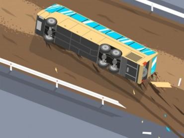 Bus TransJakarta Terguling di Gatot Subroto