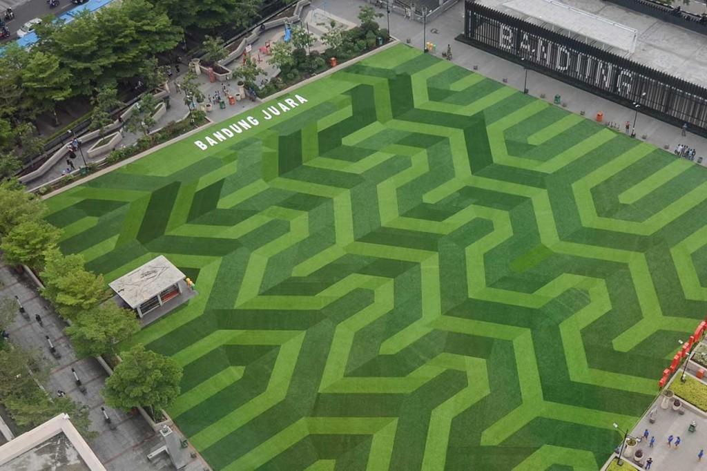 Menengok Wajah Baru Taman Alun-alun Bandung
