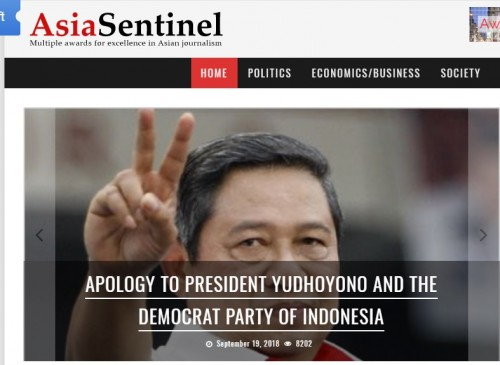 Tangkapan layar situs Asia Sentinel/Jumat (21/9/2018)/Medcom.ID