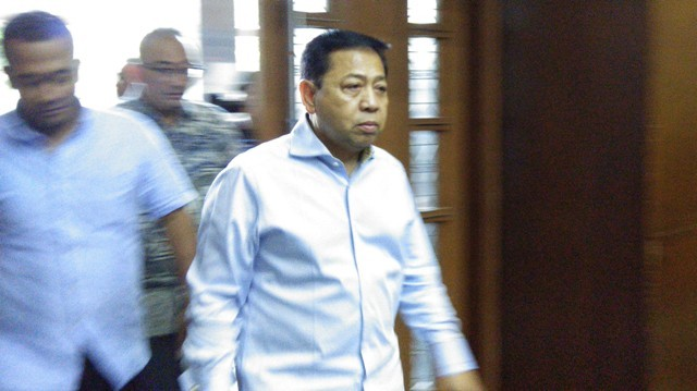 Terpidana kasus korupsi KTP-el Setya Novanto saat menjadi saksi kasus suap di Bakamla untuk terdakwa Fayakhun Andriadi di Pengadilan Tindak Pidana Korupsi Jakarta. Foto: Medcom.id/Fachri Audhia Hafiez