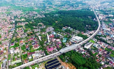 Rel LRT Palembang yang dibangun untuk memperlancar Asian Games
