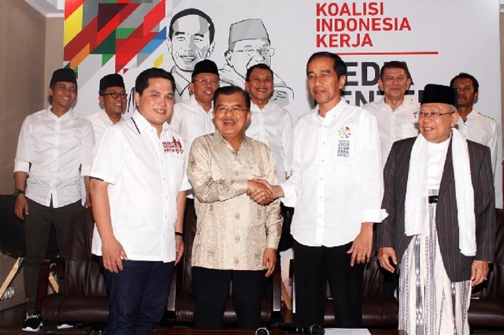 (Dari kiri ke kanan), Ketua TKN Jokowi-Maruf Erick Thohir, Muhammad Jusuf Kalla, Joko Widodo, dan Maruf Amin, MI - Bary Fathahillah