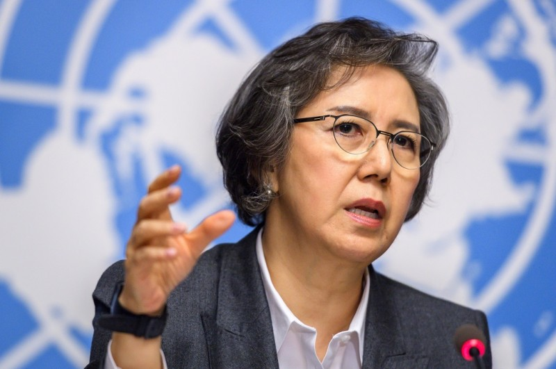 Utusan Khusus PBB untuk Myanmar Lee Yanghee. (Foto: AFP/FABRICE COFFRIN)
