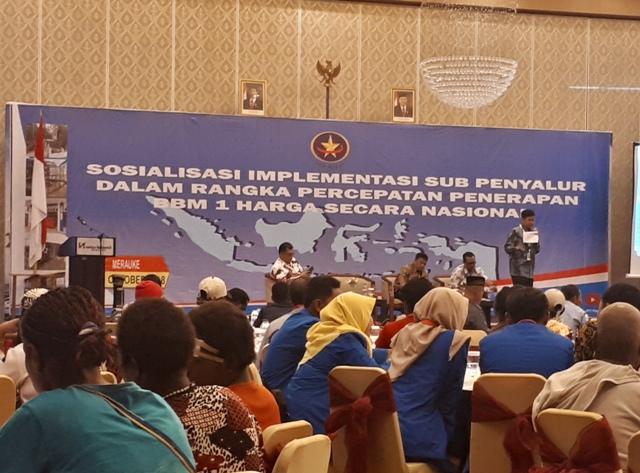 Sosialisasi Implementasi Sub Penyalur Dalam Rangka Percepatan Penerapan BBM 1 Harga Secara Nasional di Merauke, Papua--Medcom.id/Faisal Abdalla.
