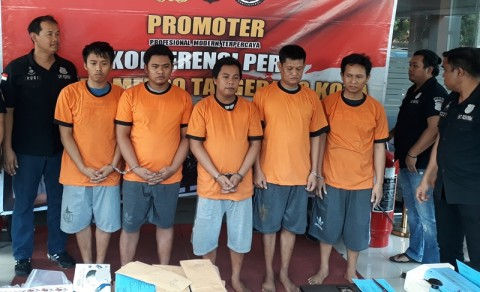 Polres Metro Tangerang Kota menangkap lima pelaku penipu
