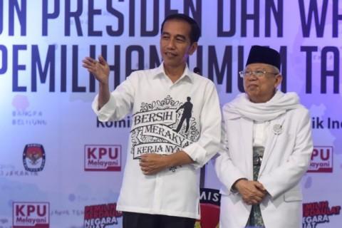 Calon Presiden Joko Widodo dan calon Wakil Presiden Ma'ruf Amin.