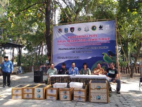 BBKSDA Jawa Timur Lepasliarkan 210 Burung ke Kalimantan