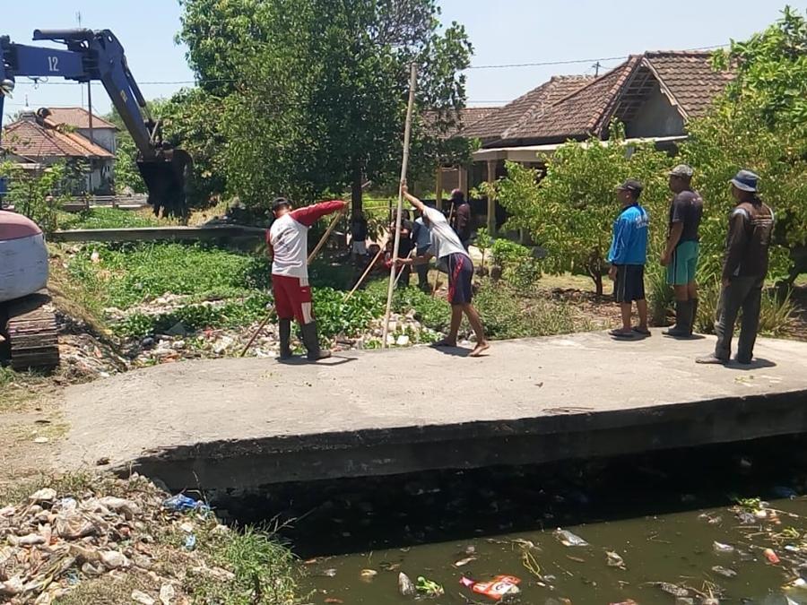 Warga Desa Kedungbendo, Kecamatan Tanggulangin, Sidoarjo, Jawa Timur membersihkan sungai yang dipenuhi sampah rumah tangga, plastik hingga tanaman enceng gondok. Medcom.id/Syaikhul Hadi