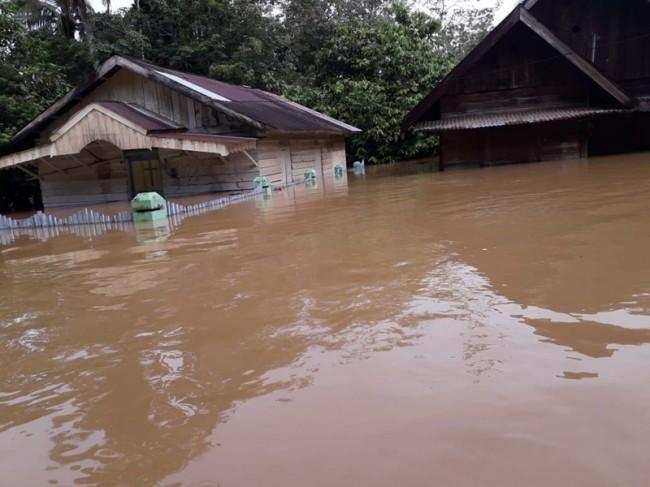 Desa Sikara-kara IV, Natal, Sumatera Utara, yang diapit dua sungai besar direndam banjir setinggi 1,5 meter. Istimewa