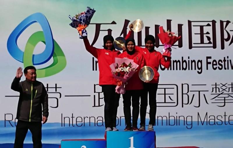Atlet panjat tebing Indonesia berhasil menyumbangkan medali emas di kejuaraan Tiongkok (Foto: Istimewa)