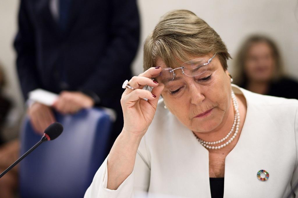Komisaris Tinggi Dewan HAM PBB Michelle Bachelet di Jenewa, 10 September 2018. (Foto: AFP/FABRICE COFFRINI)