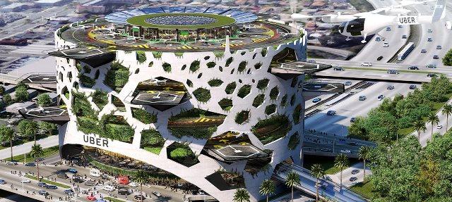Semua rancangan terminal angkutan umum terbang ini mampu melayani pergerakan 4 ribu penumpang per jam.all photos: designboom/uber