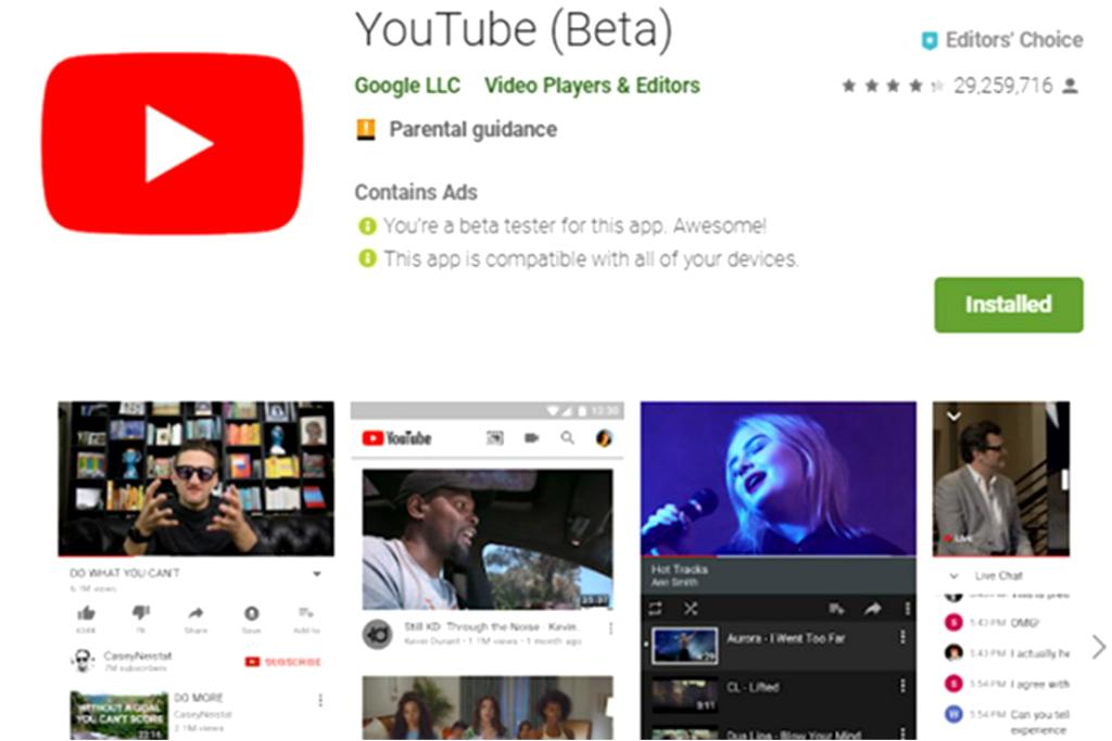 Google mengumumkan program pengujian beta untuk YouTube versi Android, dan terbuka untuk seluruh pengembang.