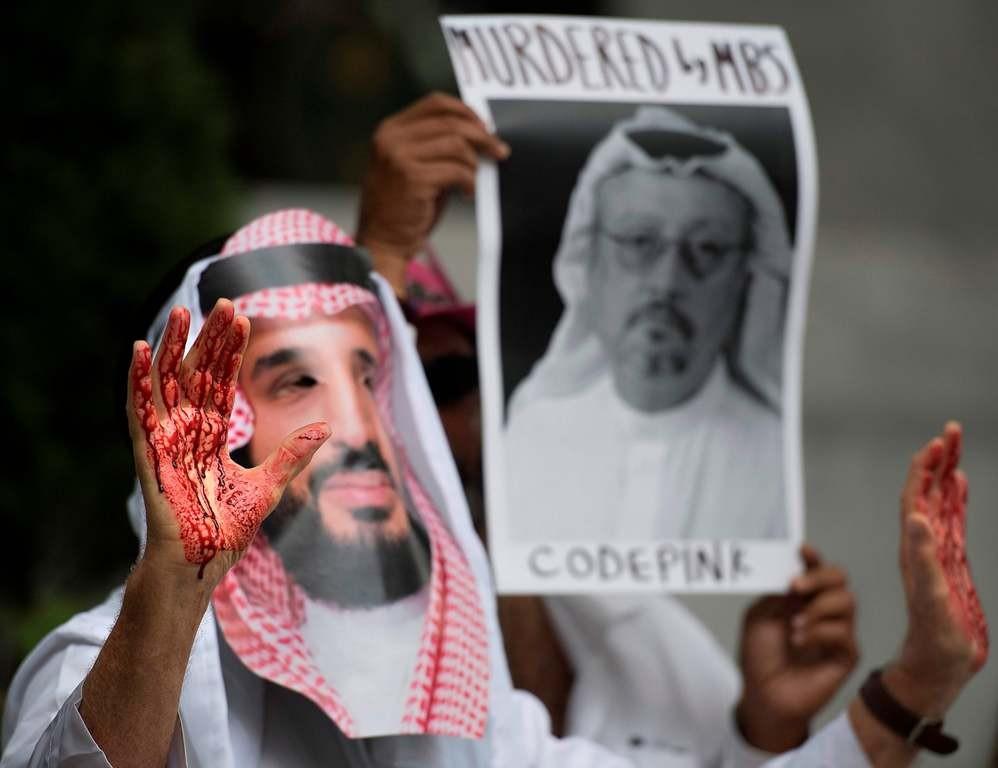 Protes menuntut dibukanya kasus jurnalis Arab Saudi yang hilang, Jamal Khashoggi.. (Foto: AFP).