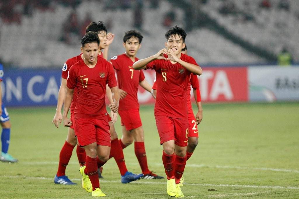 Skuat Timnas U-19 merayakan kemenangan atas Chinese Taipei. (Foto: MI/Rommy Pujianto)