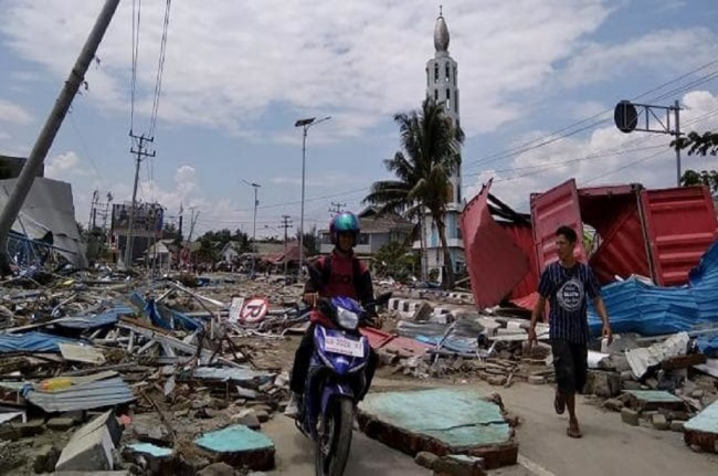 Kehancuran akibat gempa dan tsunami di kota Palu, Sulawesi Tengah, 30 September 2018. Foto: AFP.