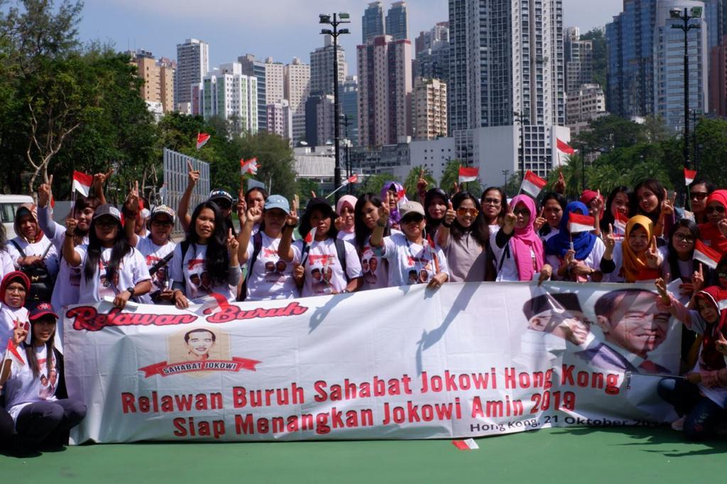 Relawan Buruh Sahabat Jokowi Hong Kong deklarasi di Victoria Park - foto: istimewa.