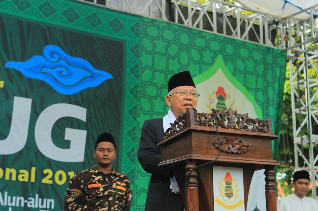 Calon wakil presiden KH Maruf Amin dalam peringatan Hari Santri Nasional (HSN) di Cirebon, Senin, 22 Oktober 2018, Medcom.id - Rofahan