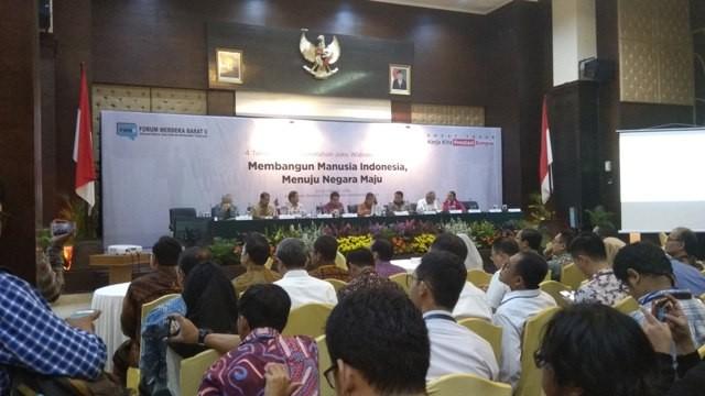 Paparan 4 tahun kerja pemerintahan Presiden Joko Widodo dan Wakil Presiden Jusuf Kalla: Membangun manusia Indonesia, menuju negara maju. Foto: Medcom.id/Fachri Audhia Hafiez