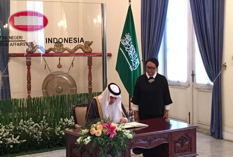 Menteri Luar Negeri RI Retno Marsudi saat menerima Menlu Arab Saudi Adel al-Jubeir di Gedung Pancasila, Selasa 23 Oktober 2018. (Foto: Sonya Michaella/Medcom.id).