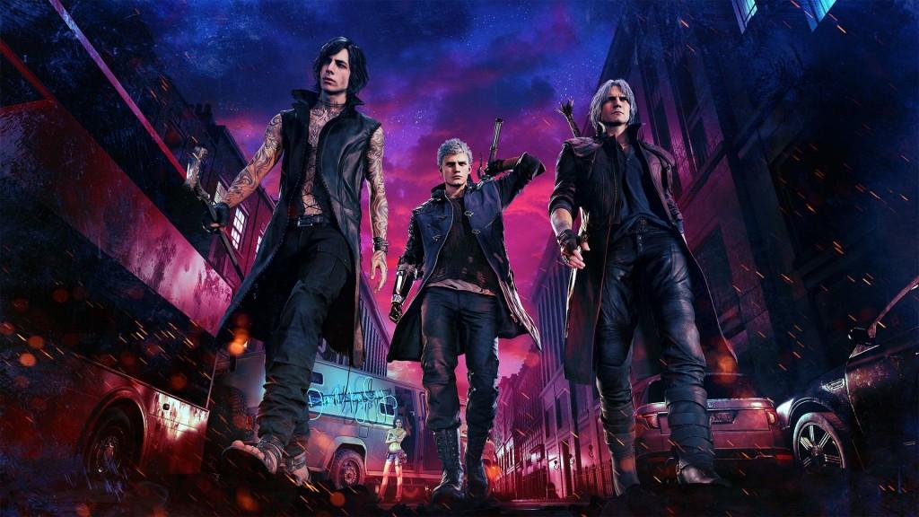 Tiga karakter utama Devil May Cry 5.