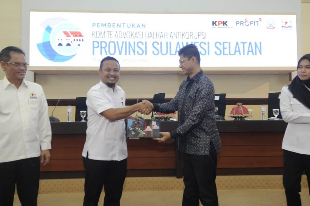 Pimpinan KPK Laode M Syarief bersama Wakil Gubernur Sulsel Andi Sudirman Sulaiman