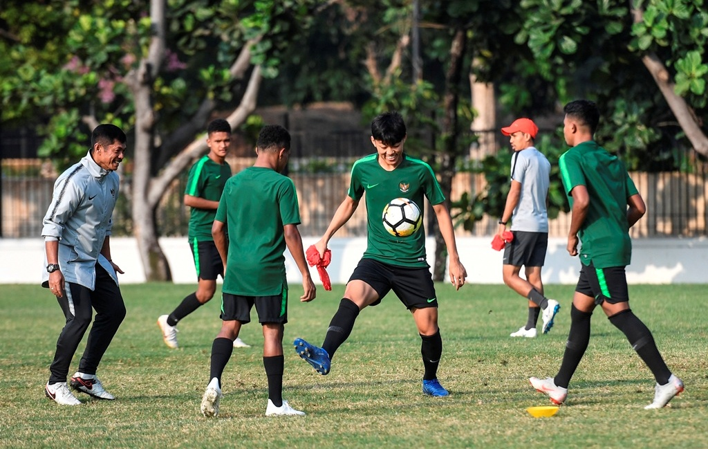 Timnas Indonesia U-19 saat melakoni sesi latihan (Foto: Antara/Haifdz Mubarak)