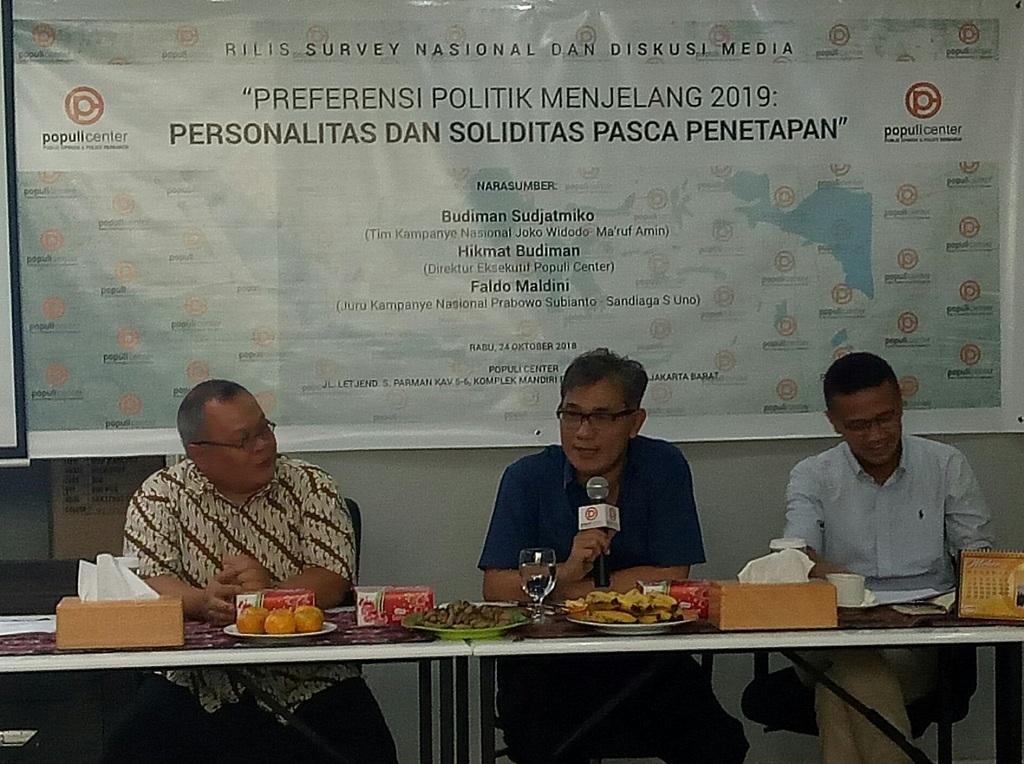 Rilis Populi Center terkait Pilpres 2019 - Medcom.id/Arga Sumantri.