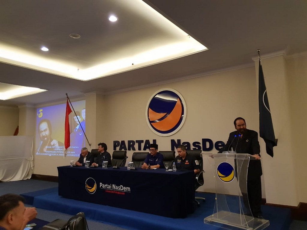 Ketua Umum Partai NasDem Surya Paloh saat memberikan arahan kepada seluruh caleg NasDem DKI Jakarta - Foto: Dokumen NasDem