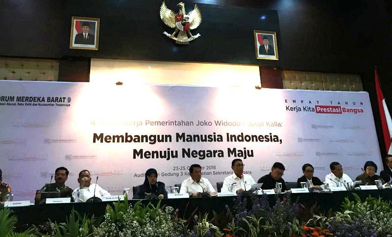 Menkopolhukam Wiranto dalam acara 4 Tahun Kerja Pemerintahan Jokowi-JK di Kementerian Sekretariat Negara. (Foto: Sonya Michaella/Medcom.id).