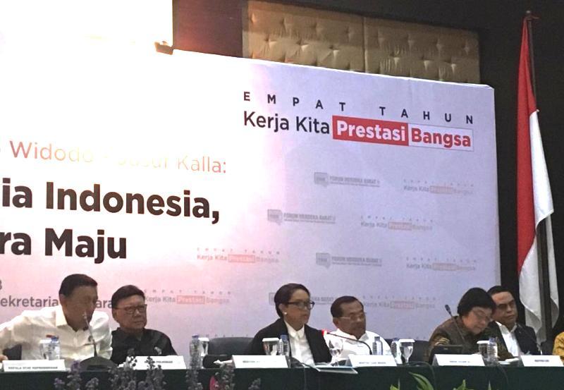 Menlu Retno Marsudi paparkan keberhasilan diplomasi Indonesia selama empat tahun pemerintahan Joko Widodo-JK. (Foto: Sonya Michaella/Medcom.id).