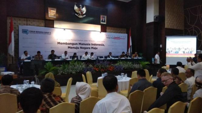 Paparan 4 tahun kerja pemerintahan Presiden Joko Widodo dan Wakil Presiden Jusuf Kalla. Foto: Medcom.id/Fachri Audhia Hafiez.