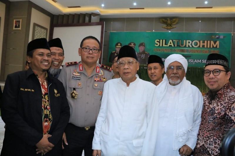 Kapolda Jatim Irjen Pol Luki Hermawan usai silaturahim dengan pimpinan ormas Islam di Jatim di Mapolda Jatim, Kamis, 25 Oktober 2018. (Medcom.id/Amal).