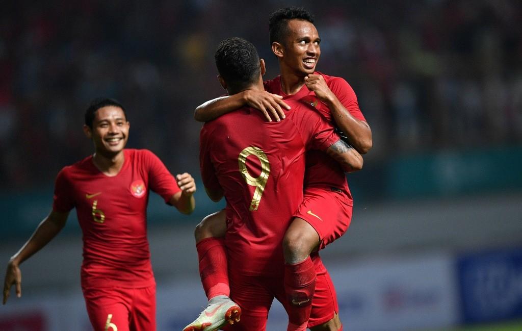 Momen saat Indonesia mengalahkan Myanmar (Foto: Antara/Sigid Kurniawan)