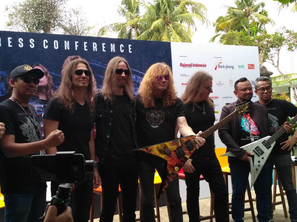 Megadeth di jumpa pers Jogjarockarta 2018 (Foto: Medcom/Patricia Vicka)