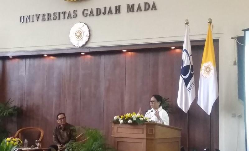 Menteri Luar Negeri Retno LP Marsudi berbicara di Universitas Gadjah Mada, Yogyakarta, Jumat 26 Oktober 2018. (Foto: Ahmad Mustaqim/Medcom.id).
