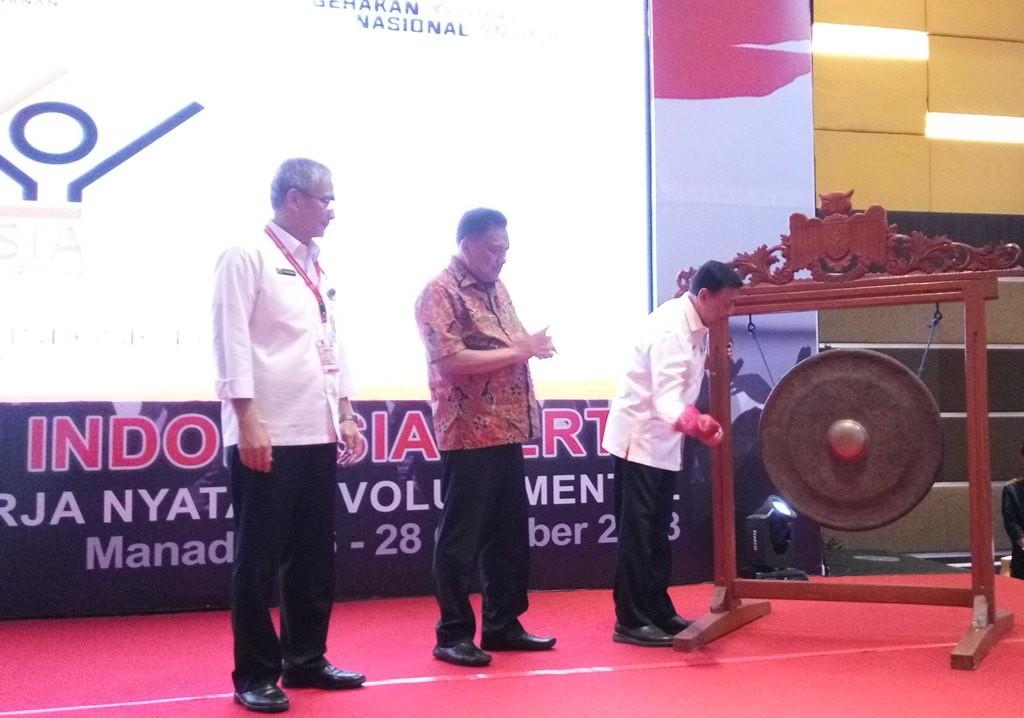 Menko Polhukam Wiranto membuka Rembuk Nasional Gerakan Indonesia Tertib di Hotel Novotel, Manado, Sulawesi Utara, 27 Oktober 2018 (Foto:Medcom.id/Anggi Tondi Martaon)