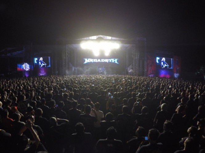 Megadeth saat tampil di hadapan 15 ribu penonton Jogjarockarta di Stadion Kridosono, Sabtu, 27 Oktober 2018. (Foto: Istimewa)