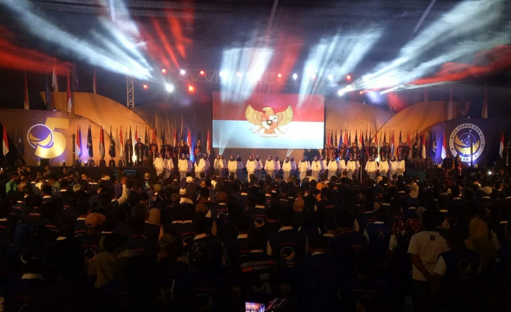 Apel siaga pemenangan Pemilu Serentak 2019 di Jawa Timur - Medcom.id/ Arga Sumantri.
