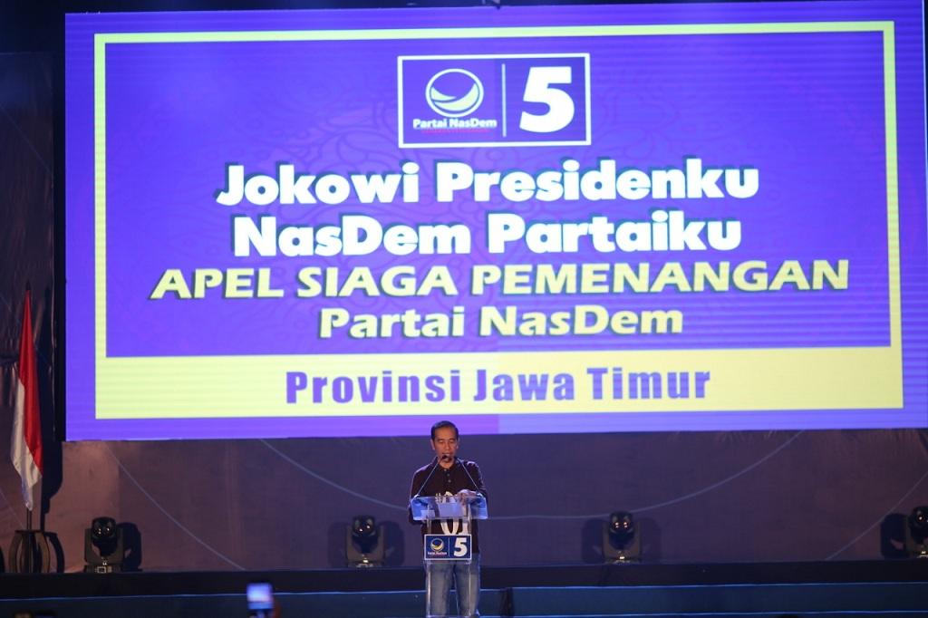 Calon presiden nomor urut 01 Joko Widodo di Apel Siaga Pemenangan NasDem Pemilu Serentak 2019 - Medcom.id/Arga Sumantri.