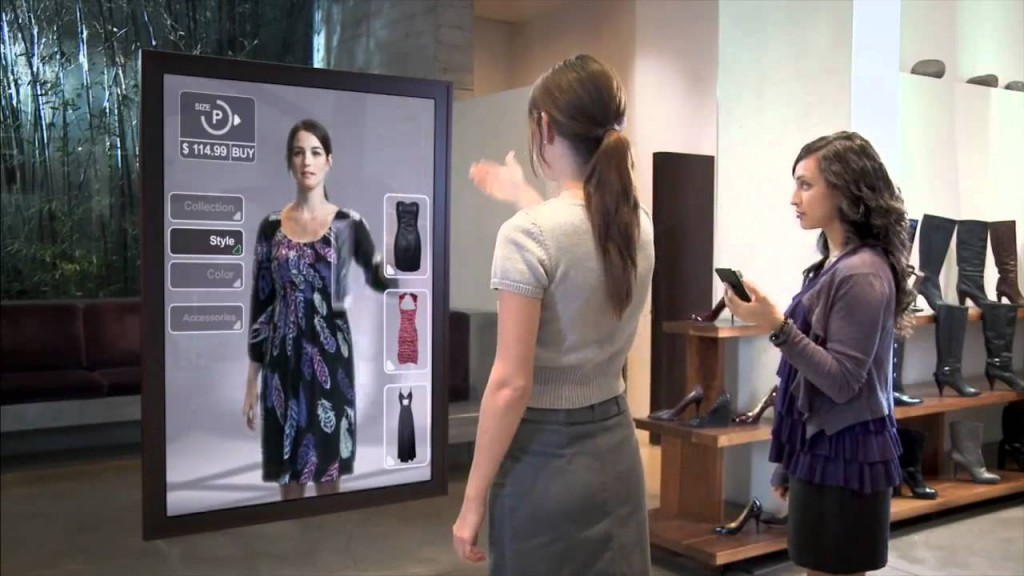 Ilustrasi teknologi cermin berbasis augmented reality di toko ritel fesyen. (YouTube)