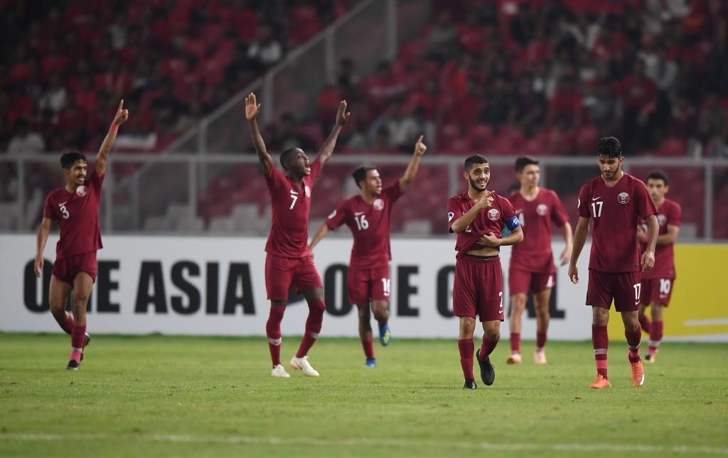 Timnas Qatar U-19 memastikan diri lolos ke babak semifinal Piala Asia U-19 usai menyingkirkan Thailand U-19 (Foto: Antara/Wahyu Putro A)