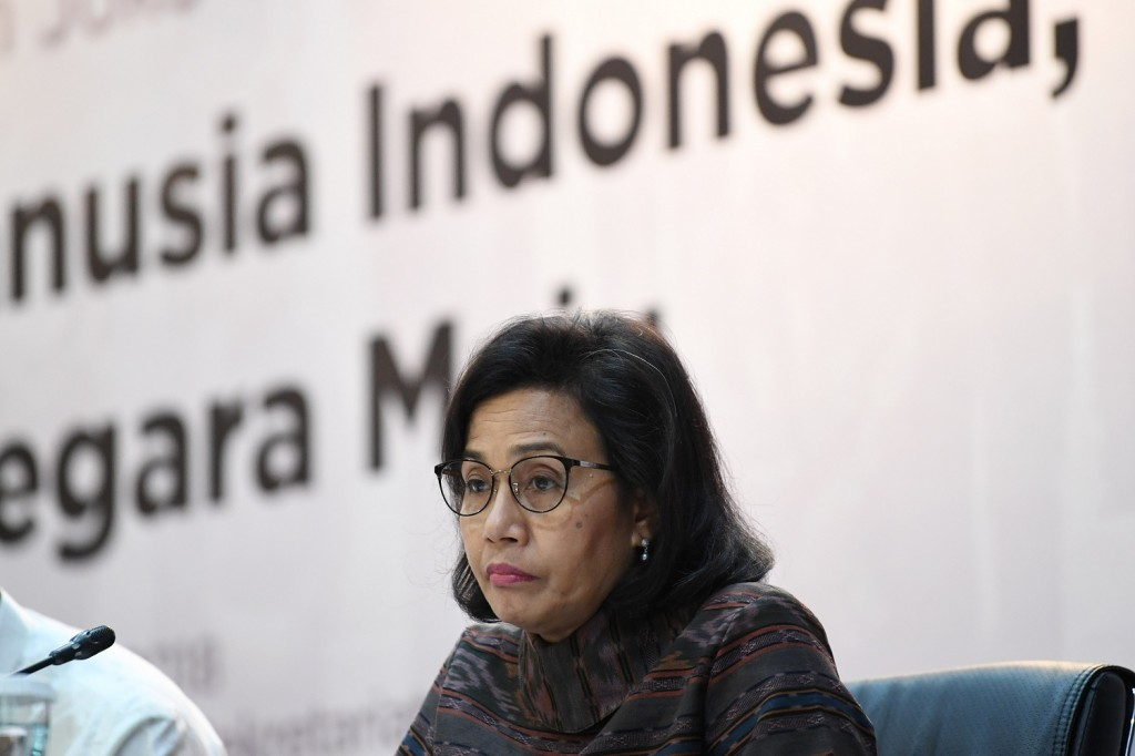 Menteri Keuangan Sri Mulyani menjadi pembicara pada Forum Merdeka Barat (FMB) 9 di Gedung Kementerian Sekretariat Negara, Jakarta, Selasa, 23 Oktober 2018. Foto: Antara/Wahyu Putro A