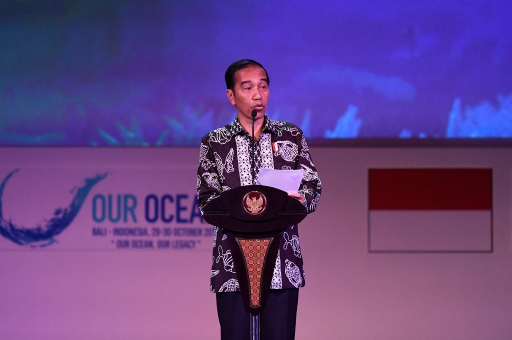 Presiden Jokowi saat memberikan sambutan di OOC 2018 di Bali Nusa Dua Convention Center, Senin 29 Oktober 2018. (Foto: ANTARA FOTO/media OOC 2018/Rivan Awal Lingga/nym)