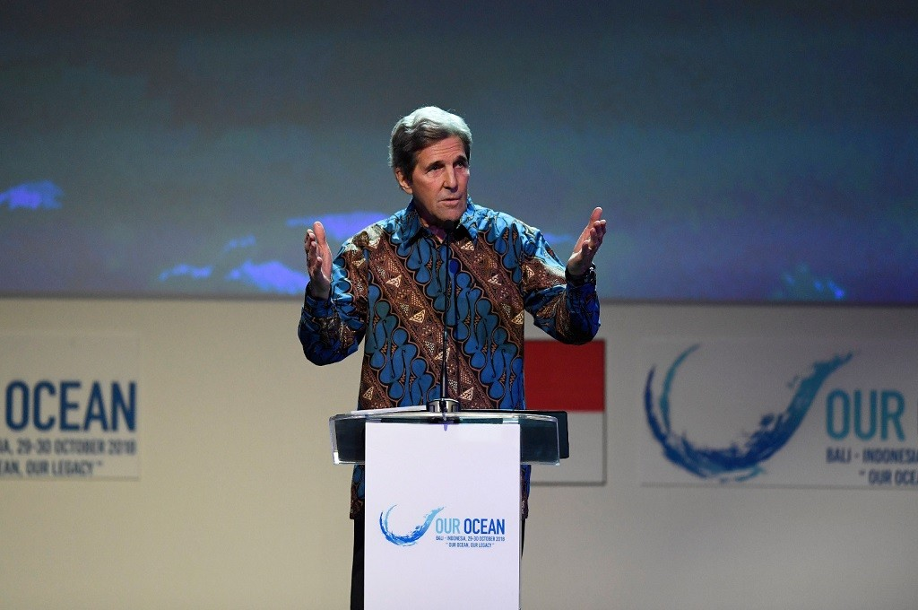 Mantan Menlu AS John Kerry berbicara di OOC 2018 di Nusa Dua, Bali, 29 Oktober 2018. (Foto: ANTARA FOTO/media OOC 2018/Rivan Awal Lingga/tom)